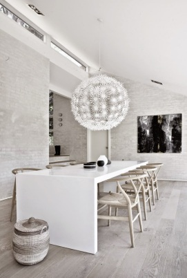 White-Dining-Area-With-Unique-White-Chandelier-And-Wooden-Chairs